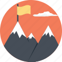 adventure, flag mountain, hill station, mountain range, snowy hills icon