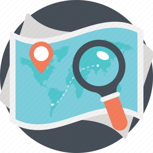 direction finding, find location, geography, location search, map under magnifier icon
