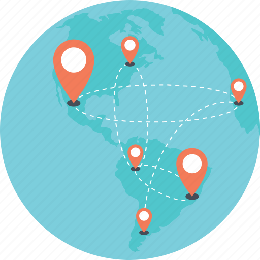 global location, global navigation, global positioning, globe and pointers, positioning system icon