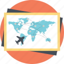 airlines route map, flights destination, international flights map, live flight tracker, travel guide icon