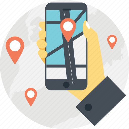 mobile gps, mobile navigation, mobile tracker, navigation app, smartphone navigation icon