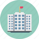 institute building, flats, government building, skyscraper, office block, trading center, building with flag icon