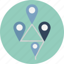 four points travelling, location pins, location pointers, map locator, placeholders, travel distance, travelling points icon