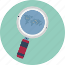 direction, magnifier with map, map, navigation, path, search location, search map icon