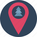 christmas tree, fir tree, forest location, garden location, jungle location, map pin with with tree, tree location icon