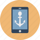 anchor, anchor navigation, anchor on mobile, boat anchor, mobile screen with anchor, online navigation, ship anchor icon