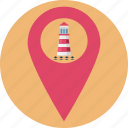 building, lighthouse, lighthouse in map pin, lighthouse location, lighthouse point, sea lighthouse, tourism icon