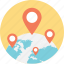 global location, global navigation, global positioning system, globe and pointers, location markers icon
