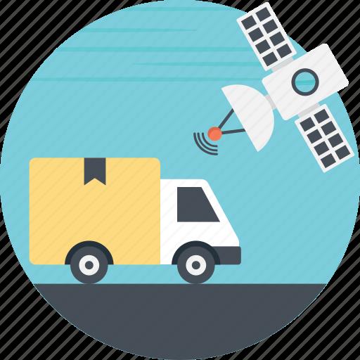 cargo tracking, satellite, satellite positioning, shipping tracking, vehicle tracking icon