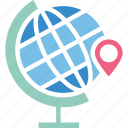 global location, global positioning system, globe and pointer, gps icon