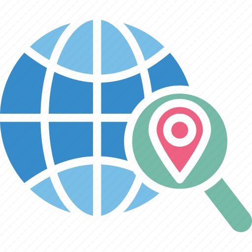 find location, global location search, globe with magnifier, gps navigation icon