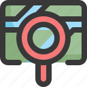 find, gps, location, magnifying glass, map, navigation, search icon