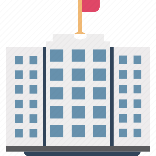 building with flag, flats, government building, institute building, office block, skyscraper, trading center icon