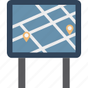 journey, journey board, location pin, locator, navigational, road sign board icon