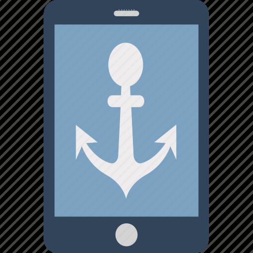 anchor, anchor navigation, anchor on mobile, boat anchor, mobile screen with anchor, online navigation, ship anchor icon
