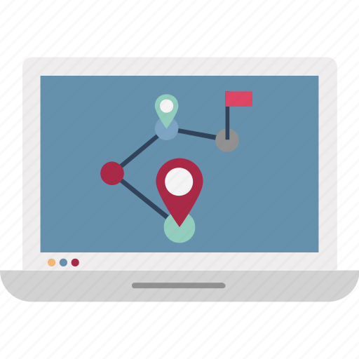 gps, laptop, location finder, location tracking, map pin, online map, online navigation icon
