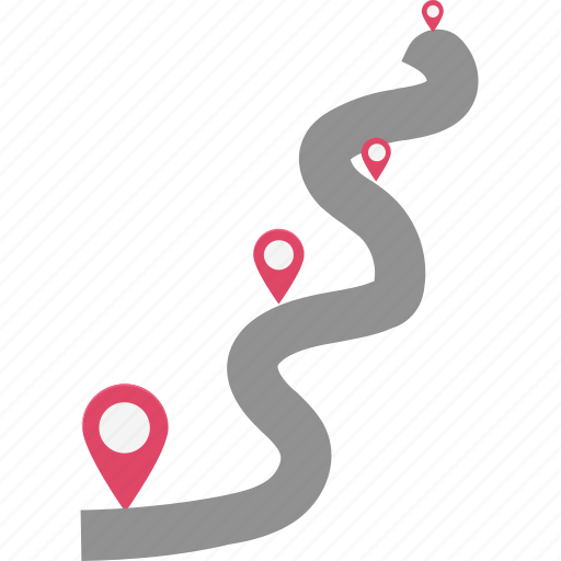 location pins, location pointers, map locator, placeholders, travel distance, travelling points, two points travelling icon