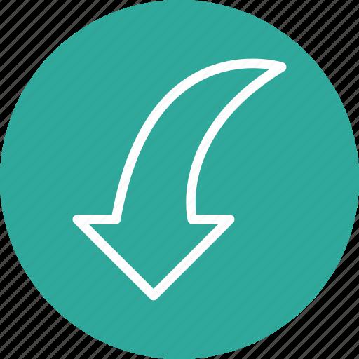 arrow, curve, direction, down icon