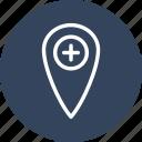 hospital, location, map, navigation icon
