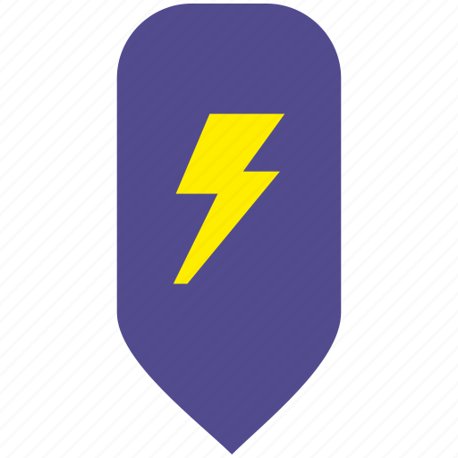 electric, map, place, pointer, shock icon