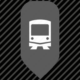 map, navigation, pointer, railways, train icon