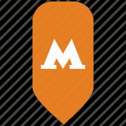m, map, metropolitan, place, pointer icon