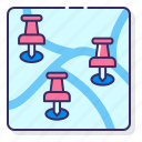 destinations, map, multiple, pins icon
