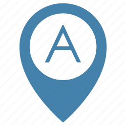 a, map, object, place, point icon