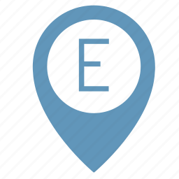 e, map, object, place, point, pointer, way icon