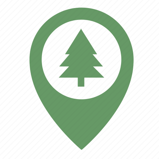fir, forest, map, object, park, pointer icon