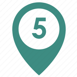 five, map, number, object, point, pointer, way icon