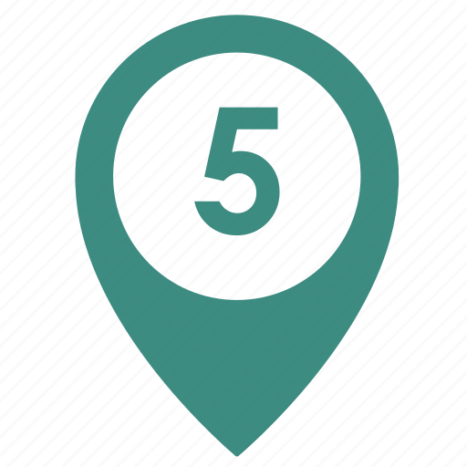 five, map, number, object, point, way icon