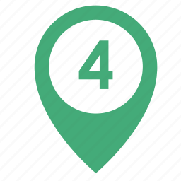 four, map, number, object, point, pointer, way icon
