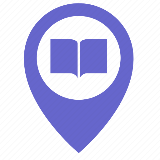 book, library, map, object, place, pointer, read icon