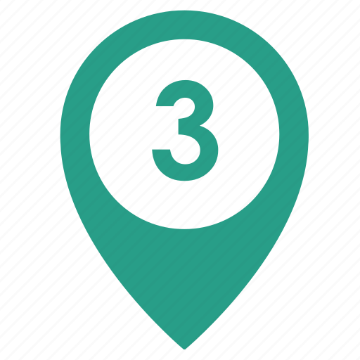 map, number, object, point, three, way icon