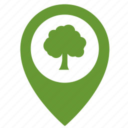 forest, map, object, park, place, point, tree icon