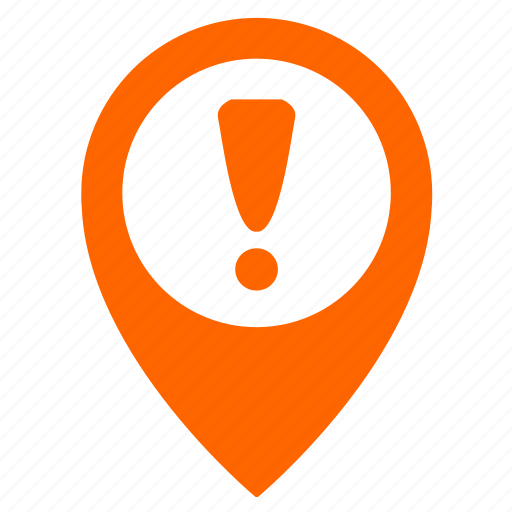 attention, map, object, point, pointer, warning icon