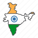 india, map, flag, country, travel, geography, contour