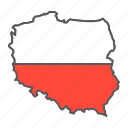 poland, map, flag, country, travel, geography, contour