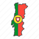portugal, map, flag, country, travel, geography, contour