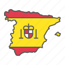 spain, map, flag, country, travel, geography, contour