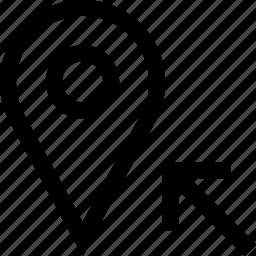 arrow, pin, search icon