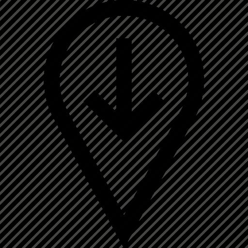 arrow, down, pin, point icon