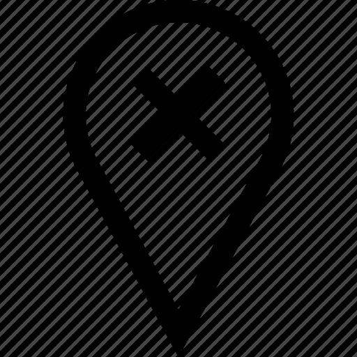 delete, pin, stop, x icon
