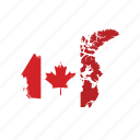 canada, flag, map, world icon