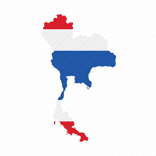 Flag Map Thailand World Icon