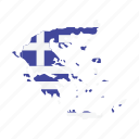 flag, greece, map, world icon