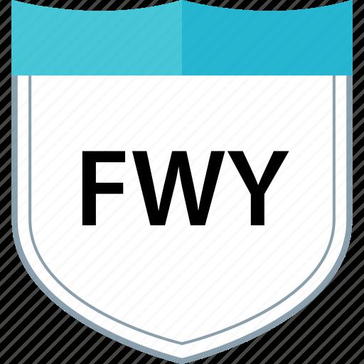 freeway, fwy, shield, sign icon