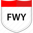 fwy, road, sign icon