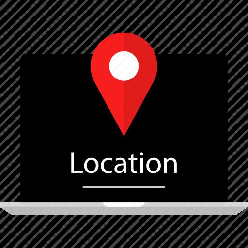 laptop, location, web icon